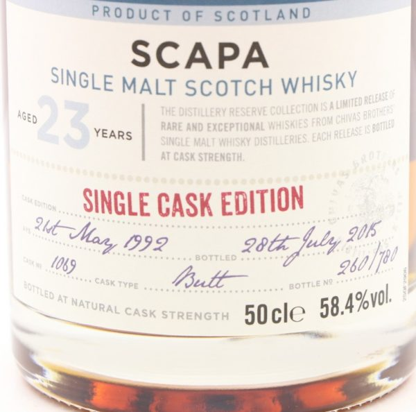 Scapa 23 Year 1992 The Distillery Reserve Collection label
