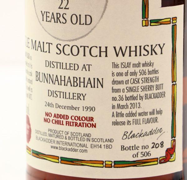 Bunnahabhain 22 Year 1990 Blackadder Statement Raw Cask label 2