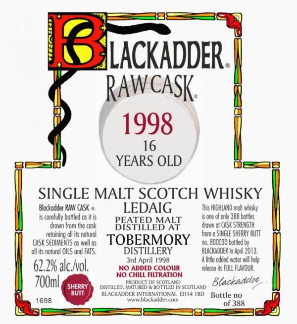 "Tobermory ""Ledaig"" 15 year 1998 Blackadder Raw Cask Label"